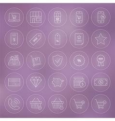 Line circle shop market e-commerce icons set vector