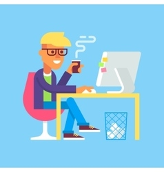 Man is working with computer and drinking coffee vector image vector image