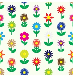 Modern colorful simple retro small flowers set of vector