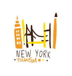 New york tourism logo template hand drawn vector