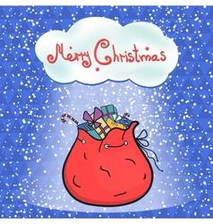 Open bag full of gifts Santa vector image vector image
