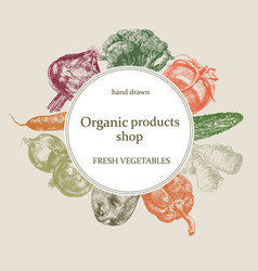 Organic shop logo hand drawn fresh vector