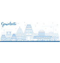 Outline guwahati india city skyline with blue vector