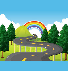 Park scene with road and rainbow in background vector