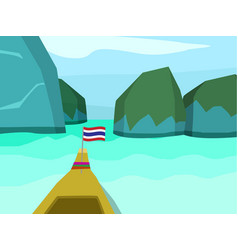 Phi phi island in flat style landscape vector