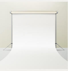 photo studio empty white canvas background vector image
