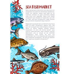 poster of fish catch for sea food maket vector image