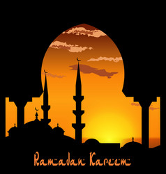 ramadan kareem view from the arch on the blue vector image vector image