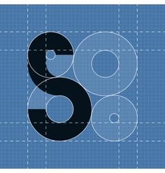 Round engineering font Symbol S vector image