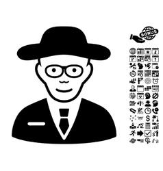 Scientist Flat Icon With Bonus vector image