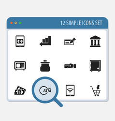 set of 12 editable banking icons includes symbols vector image vector image