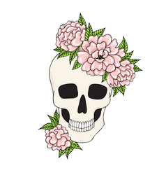Skull with pink flowers on a white background vector