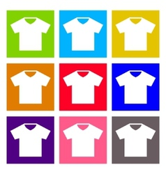 T-shirt sign icon clothes symbol round colourful vector