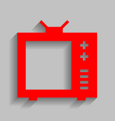 Tv sign red icon with soft vector