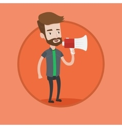 Young hipster man speaking into megaphone vector