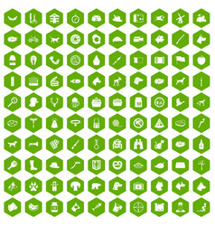100 dog icons hexagon green vector