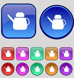 Kettle Icon sign A set of twelve vintage buttons vector image