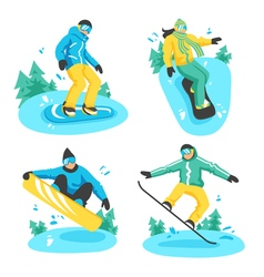 People on snowboard design compositions vector