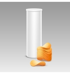 White container with stack of potato chips vector