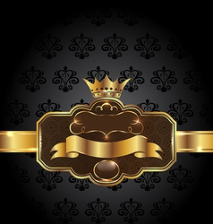 Vintage golden emblem on black floral background vector image