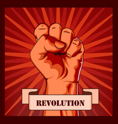 revolution fist creative poster concept vector image
