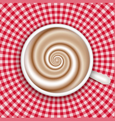 coffee cup top view red gingham background vector image