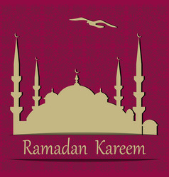Ramadan kareem a blue mosque cut from paper vector