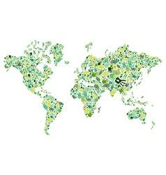 Go green hands World map vector image