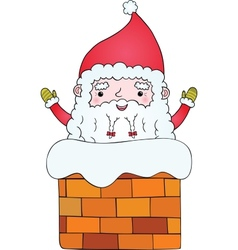 Santa claus in the chimney vector