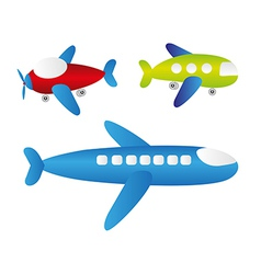 Set of cartoons of planes vector