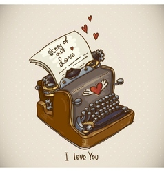 Doodle vintage greeting card with retro typewriter vector
