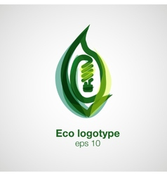 Eco logotype bulb in leaf concept vector