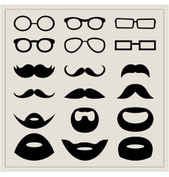 Set of moustaches and points on a beige background vector