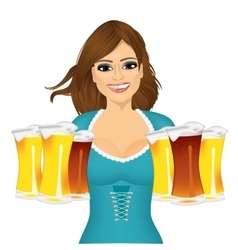 Woman with six froth beer mugs vector