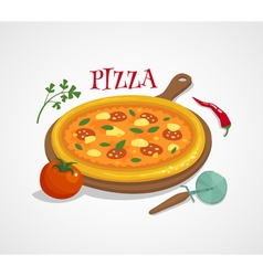Pizza concept with tomato pepper and basil cartoon vector