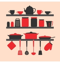 Silhouette of kitchen tools vector