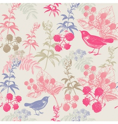 Vintage birds berries pattern vector