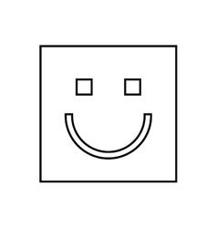 Happy face square isolated icon design vector