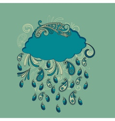 Blue cloud with paisley rain vector