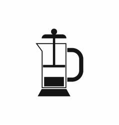 French press coffee maker icon vector
