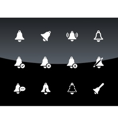 Alarm bell icons on black background vector image