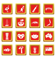 Australia travel icons set red vector