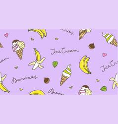 Banana and ice cream vector