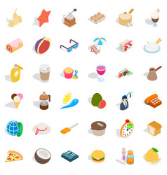 Beach relaxation icons set isometric style vector