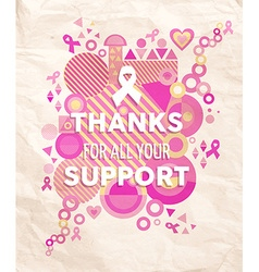 Breast cancer awareness geometry support poster vector image vector image
