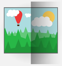 Cartoon style bent photo frame with day nature vector