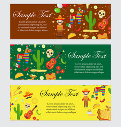cinco de mayo celebration in mexico banner set vector image vector image