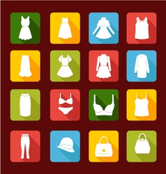 Collection icons of women fashion clothing vector