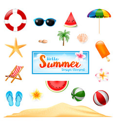 Collection of summer design element isolated on vector