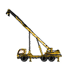 Color crayon stripe cartoon construction crane vector